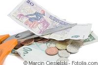 Geldschein Schere